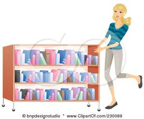 woman book cart